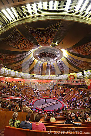 Staff rolled up manege in Arena of the Great Moscow State Circus Editorial Stock Photo