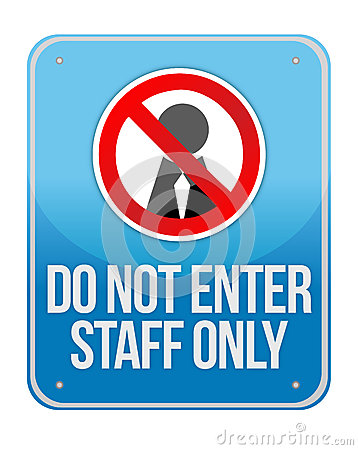 Staff Only Sign Isolated