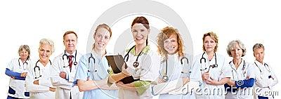 Staff team of doctors and nurses