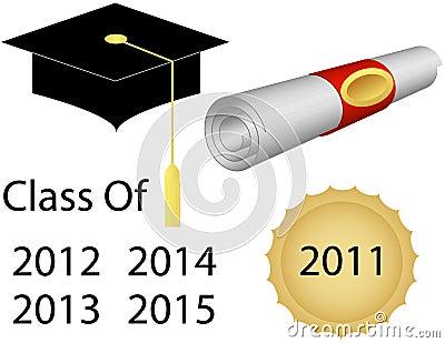 Staffelung-Schutzkappe und Diplom
