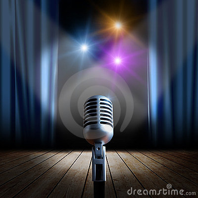 Free Stage And Retro Microphone Royalty Free Stock Photos - 24186668