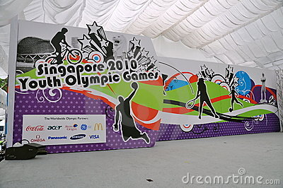 Stage and backdrop for Youth Olympic logo launch Editorial Stock Image