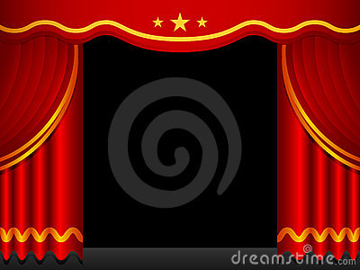 Stage Background With Red Curtains