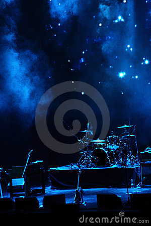 Stage in blue light