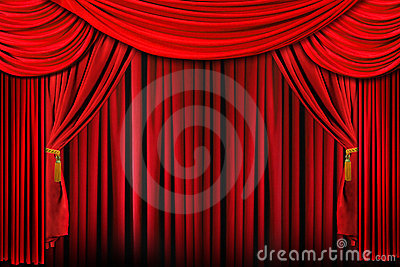 Stage in Bright Red Dramatic Lighting