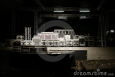 Stage with cases