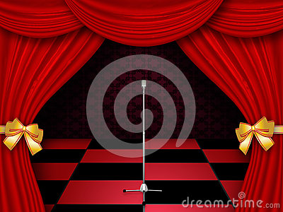 Stage with checkered floor