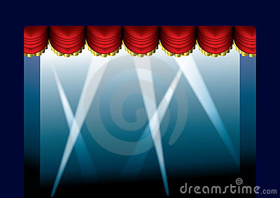 Stage Curtain Opened Royalty Free Stock Image - Image: 13298536