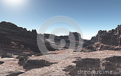 Stage of desolate desert