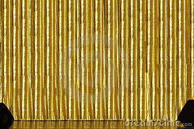 Stage with golden curtain