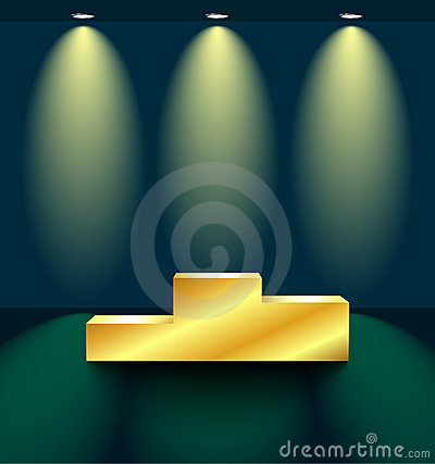 Stage with a golden pedestal