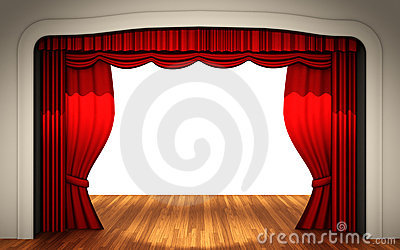 Stage with open curtain