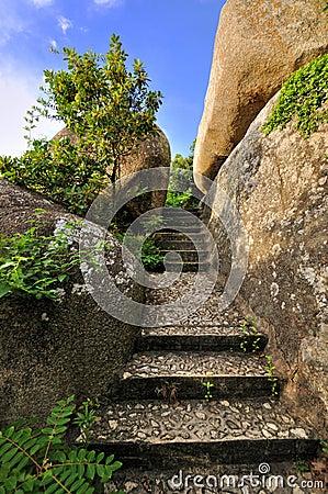 Stage among rocks