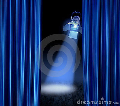 Curtains Ideas blue stage curtains : Spotlight On Blue Stage Curtain Stock Vector - Image: 63911553