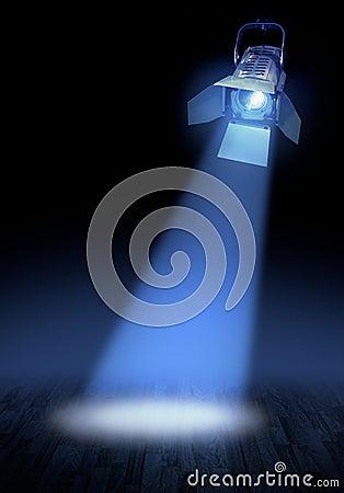 Stage spotlight on floor