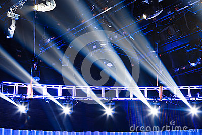 Stage with spotlights