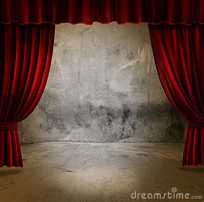 Stage and velvet curtains