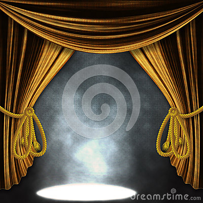 Free Stage With Gold Curatins And Spotlights Royalty Free Stock Photography - 29496947