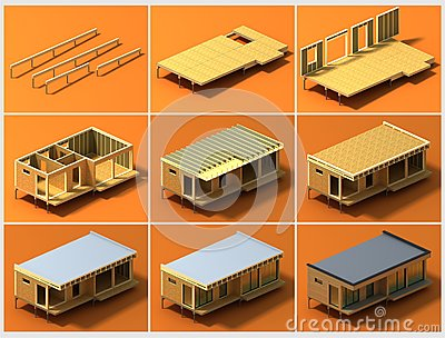 Stages of construction 2 stock illustration image 65982195 for Construction stages of building a house