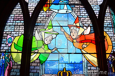 Stain glass window in disney castle Editorial Photo