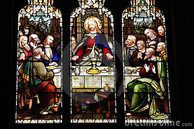 Stain glass windows of last supper