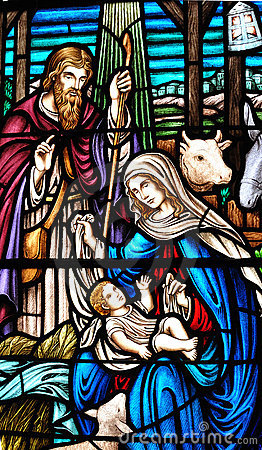 Stained galss window of birth of Jesus