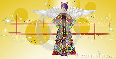 Stained glass angel with wings