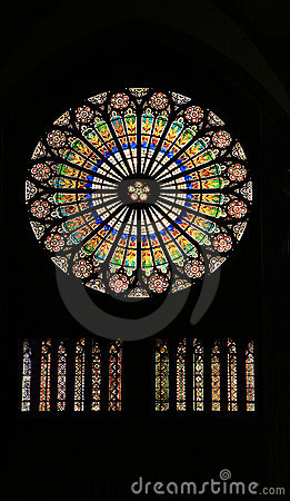 Stained glass in cathedral - Strasbourg, France