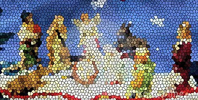 Stained Glass Creche Stock Photo