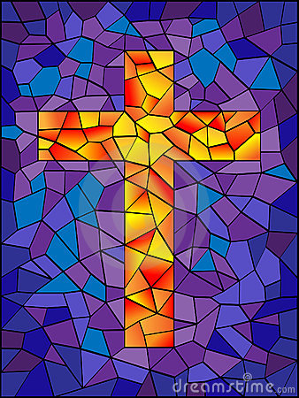 Free Stained Glass Cross Stock Photo - 12173450