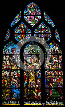 Free Stained Glass Depicting St Mary Magdalene S Apostleship To Provence. Shot In Church Of Saint Severin, Paris Stock Photography - 41577282