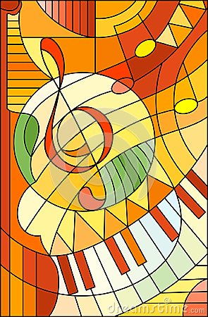 Free Stained Glass Illustration Abstract Image Of A Treble Clef In Stained Glass Style ,in Yellow Orange Tones Royalty Free Stock Photo - 113973005