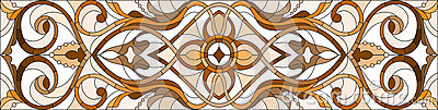 Stained glass illustration with abstract swirls and leaves on a light background,horizontal orientation, sepia Vector Illustration
