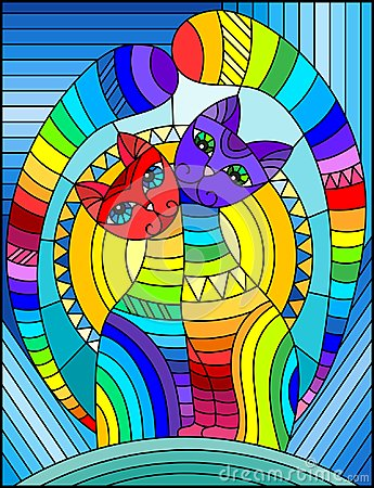 Free Stained Glass Illustration With A Pair Of Abstract Geometric Rainbow Cats On A Blue Background With Sun Royalty Free Stock Photo - 117361275