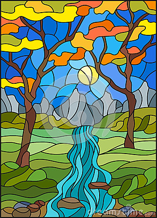 Free Stained Glass Illustration  With A Rocky Creek In The Background Of The Sunny Sky, Mountains, Trees And Fields,autumn Landscape Royalty Free Stock Photo - 91949425
