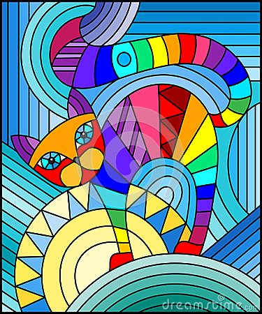 Free Stained Glass Illustration With Abstract Geometric Cat Royalty Free Stock Photo - 106203185