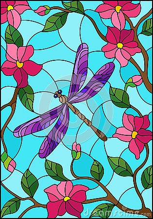 Free Stained Glass Illustration With Bright Purple Dragonfly Against The Sky, Foliage And Pink Flowers Royalty Free Stock Image - 130091486