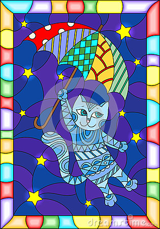 Free Stained Glass Illustration With Funny Flying Cat On The Umbrella Against The Starry Night Sky Royalty Free Stock Image - 92750636