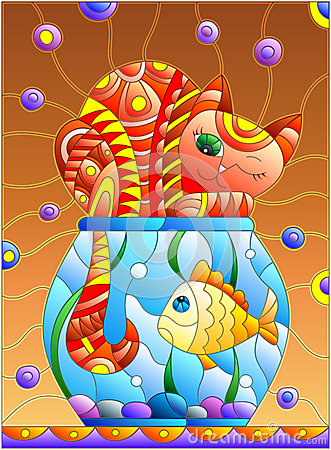 Free Stained Glass Illustration With Red Abstract Cat And Goldfish In The Aquarium Royalty Free Stock Images - 84278579