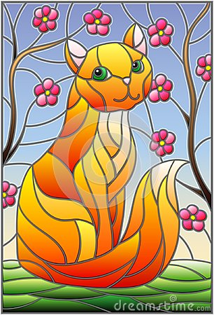 Free Stained Glass Illustration With Red Cat Against The Sky And Tree Branches Royalty Free Stock Photos - 113710218