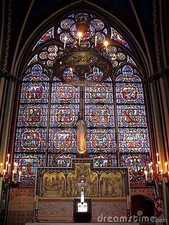 Free Stained Glass In Notre Dame De Paris, France Royalty Free Stock Photos - 15345208