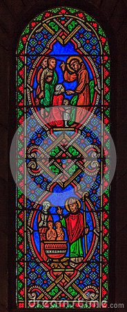 Free Stained Glass In Saint Nicholas Cathedral Monaco Ville Stock Image - 59110691