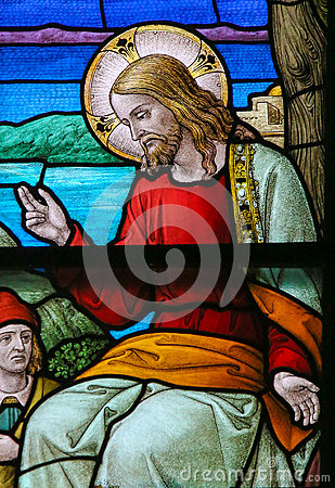Stained Glass of Jesus Christ in Mechelen Cathedral Stock Photo