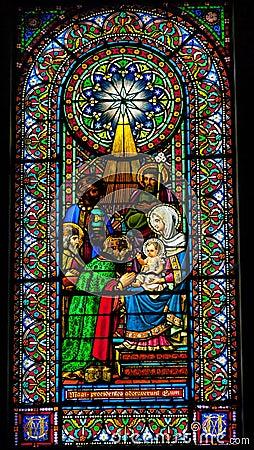 Stained Glass Magi Three Kings Baby Jesus Mary Montserrat Catalo
