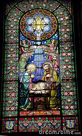 Stained Glass Nativity Baby Jesus Mary Joseph Monestir Monastery