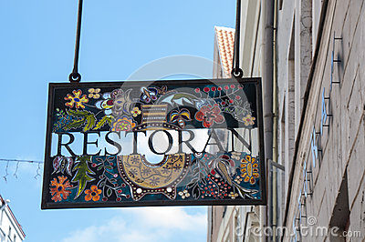 Stained glass restaurant sign