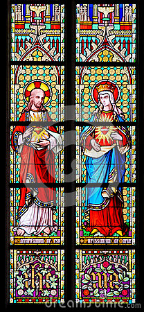 Stained Glass - Sacred Heart of Jesus and Most Pure Heart of Mar Stock Photo