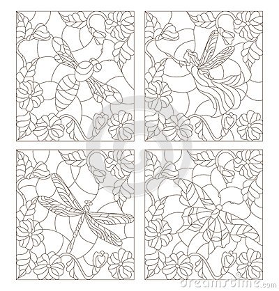 Free Stained Glass Set Of Contour Illustrations  Fairy, Bee, Butterfly And Dragonfly On The Background Colors Stock Images - 82861714