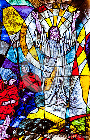stained glass showing jesus resurrection stock image