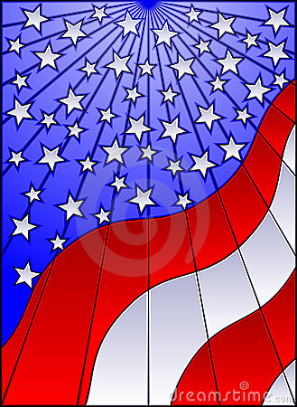 Stained glass US flag